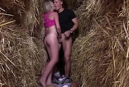 Legal age teenager fucks in haystack