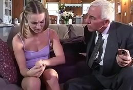 Youthful girl receives fucked by old couple