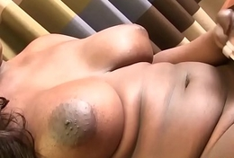 Chubby frowning amateur tranny by oneself pulling cock