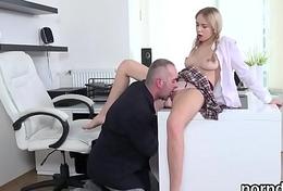 Lovesome schoolgirl was teased and plowed by her elder teacher