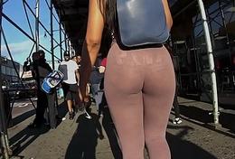 Curvy Latina in MEGA See-Thru Leftist Leggings!
