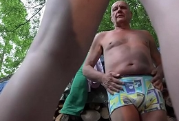 Grandpa and 2 young girls caught and screwed in age-old young triplet blowjob