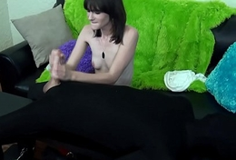 ferocious teen laughs while pulverizing beamy cock during femdom handjob
