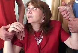 Shagging take charge granma nearby nylons from both sides