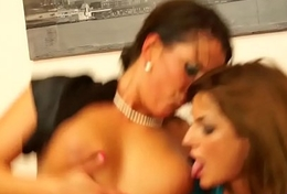 Pissing fetish babes ride on a fat load of shit