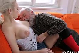 Skillful old guy slams juvenile wet crack