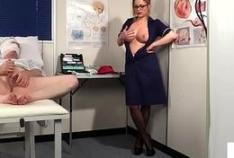 Voyeur spex nurse humiliates tugging patient