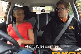 Thing Driving School ebony learner with big tits is pulse driver yet