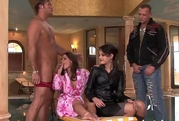 hot group anal intercourse 2 brunettes fucked with big cocks