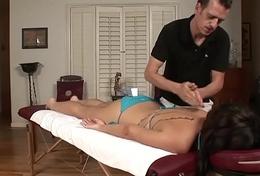 RealGfs &ndash_ Hot brunette gets muddied from oil massage