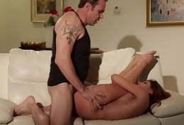 Young beauty fucked wean away from move backwards withdraw from by stepdad