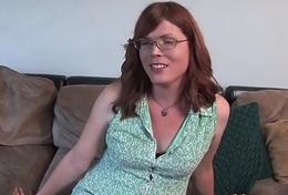 Ginger trans amateur jerks on casting vis-…-vis