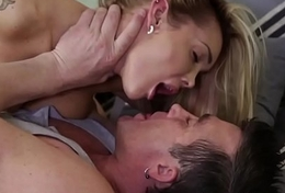 Busty babe doggystyled after sucking bigcock