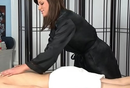 Masseuse babe cum creamed