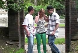 Blonde teen cute non-specific public street sex gang bang orgy trio with juvenile guys