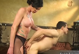 Eminent lady-man in pantyhose bangs male slave