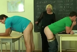 Granny threesome sex in along to classroom