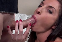 Watch Silvia Saige suking a huge cock with will not hear of wet mouth