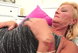 Bigtits granny sucks cock together with gets fucked