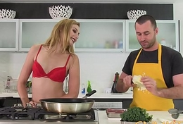 CUM KITCHEN: Tall Blonde Babe Alexa Grace Receives her Pussy raddled in a catch Kitchen