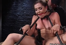Gagged unlighted slave changeless flogged