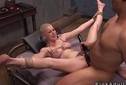 Blunt haired slave got bdsm training